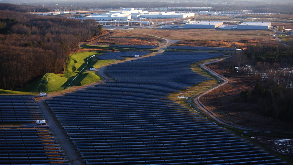 An aerial view of the solar farm on Volkswagen's campus