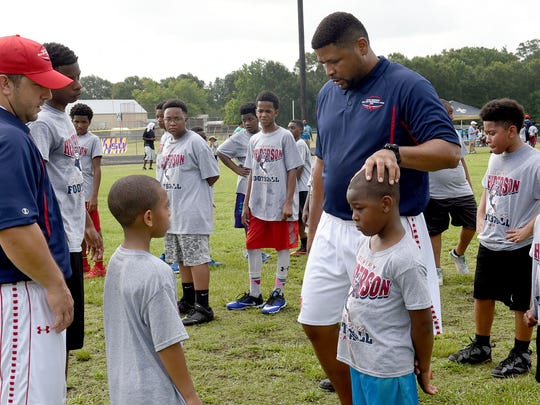 Campers attend Devery Henderson's Skills and Drills Football Camp in 2016. The annual camp will be held this Saturday at Opelousas High. Freddie Herpin/Daily World