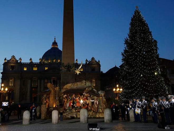 The Nativity scene is unveiled Tuesday in St. Peter's Square at the Vatican.