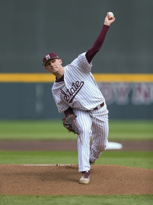 Mississippi State's Ethan Small (44) releases a pitch in the first inning. Mississippi State played Vanderbilt in an SEC college baseball game on Saturday, March 17, 2018. Photo by Keith Warren
