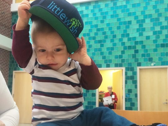 One-year-old Kamden, who is being treated for cancer at Riley Hospital for Children, recently got a LeapFrog game tablet and games from Liz Niemiec and Little Wish.