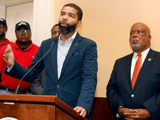 Jackson, Miss., Mayor Chokwe Antar Lumumba, center, expresses his support for a intimidation free union election during a Jackson, Miss., news conference, Monday, July 31, 2017. Lumumba joined Canton, Miss., mayor and U.S. Rep. Bennie Thompson, D-Miss., right, in expressing their support for an intimidation free union vote at the Nissan vehicle assembly plant in Canton, Miss. The UAW has a vote scheduled Aug. 3-4, on whether it should represent some 3,700 workers.