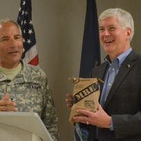 Brig. Gen. Michael Stone, assistant adjutant general of the Michigan Army National Guard, spoke to reporters Thursday about projects and programs at Air Guard and Army Guard sites in Battle Creek.
