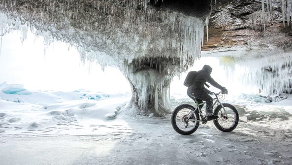 Fat bikers can ride through ice caves around Madeline