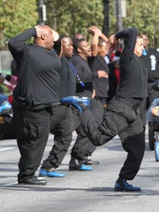 Phi Beta Sigma Fraternity members in the 2012 Circle City Classic parade.