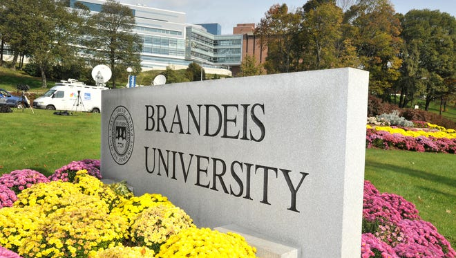 A sign marks the entrance of Brandeis University in Waltham, Mass., on Oct. 20, 2010.
