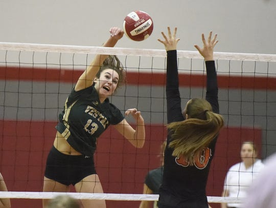 Vestal's Annabel Miller takes a powerful shot Wednesday