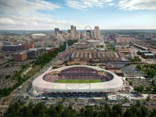 Rendering of potential Downtown St. Louis soccer-specific stadium.