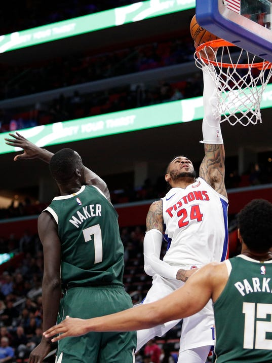 Eric Moreland, Milwaukee Bucks at Detroit Pistons