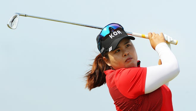 Inbee Park plays her shot from the sixth tee during the women's golf final at the Rio Olympic Games.