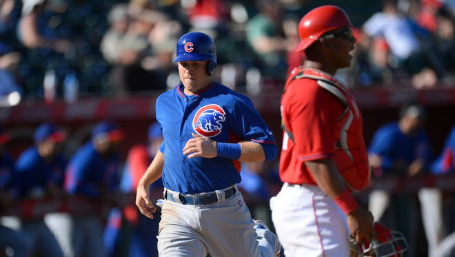 Chris Valaika, shown during spring training, ripped two doubles Monday during the Iowa Cubs' loss at Sacramento.