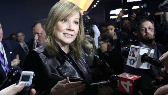General Motors CEO Mary Barra answers questions from the press after the 2018 Chevrolet Traverse was revealed  during the 2017 North American International Auto Show at Cobo Center in Detroit on Monday, Jan. 9, 2017.