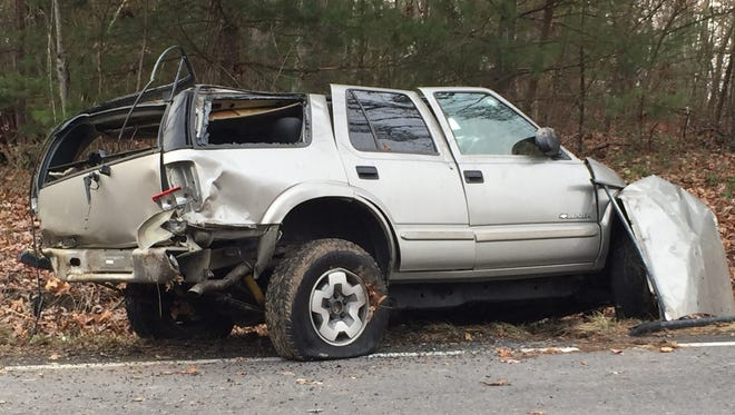 The Chevy Blazer that was involved in a single vehicle crash on East Side Highway in Crimora Jan. 13, 2015.