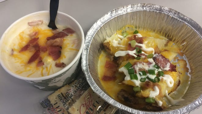 The creamy potato soup, left, and the loaded potato skins are two of several items on the Two Men and a Ladle menu.