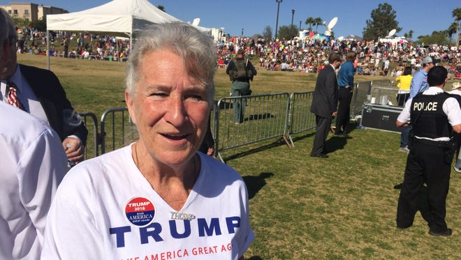 Karen Johnson, a former state lawmaker from Mesa, gave the opening prayer Saturday at Republican presidential front-runner Donald Trump's Fountain Hills rally.
