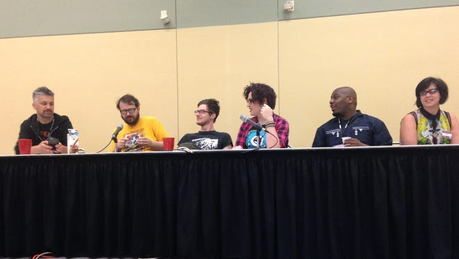 The Black mask Studios panel at Baltimore Comic Con 2016 from left to right: Matt Pizzolo, Matthew Rosenberg, Tyler Boss, Magdalene Visaggio, Tony Patrick and Tini Howard.