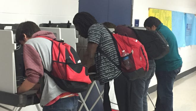 Students cast their ballots last week in Franklin High School's mock election. The results showed Donald Trump winning the vote over Hillary Clinton at the school.