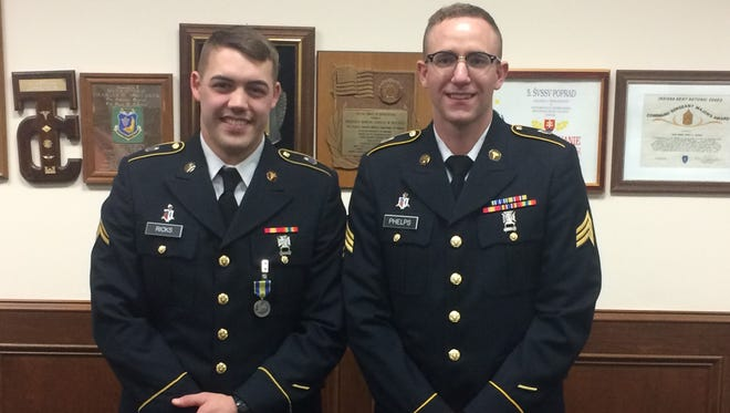 Jacob Ricks (left) poses with his sponsor, Sgt,. Cody Phelps, after he won Indiana's U.S. Army Reserve Best Warrior Competition in March 2017 at Camp Atterbury near Franklin.