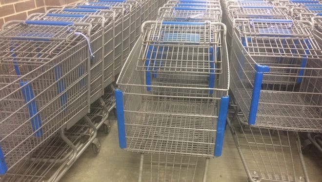 Grocery stores have their carts professionally cleaned on a regular basis.