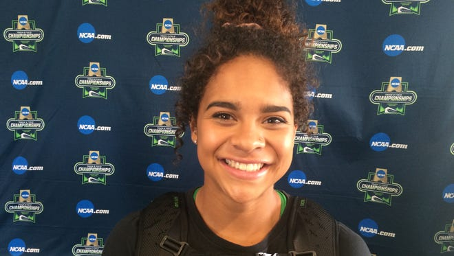 Oregon freshman Keira McCarrell competed in the javelin at the NCAA track and field championships.