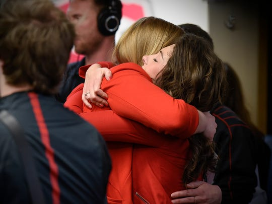 Hugs were shared at the end of a press conference discussing the loss of St. Cloud State University President Earl H. Potter III Tuesday, June 14, at St. Cloud State University.