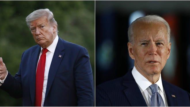 President Donald Trump, left, and presumptive Democratic nominee Joe Biden will appear on Tuesday's primary ballot.