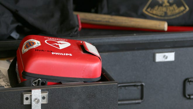 One of the Automatic External Defibrillators in a Monroe County Sheriff's Office car.