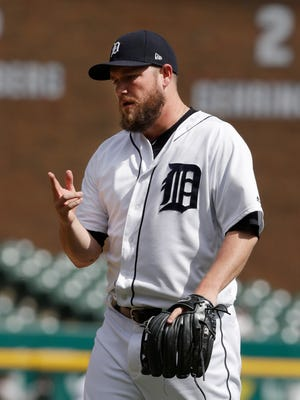 Alex Wilson gestures after the Tigers defeated the Orioles, 6-5, on May 18, 2017 in Detroit.