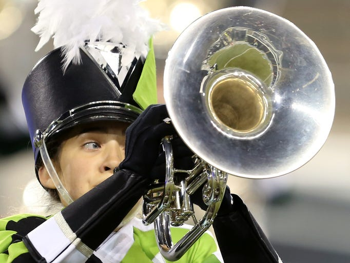 The West Salem High School marching band performs in