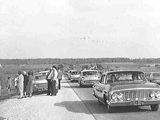 As this 1964 photo shows, cars commonly clogged Wisconsin 49 east of Waupun each fall as motorists and their families parked on its shoulders to watch Canada geese.