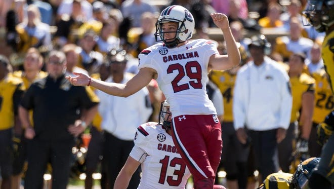 South Carolina place kicker Elliott Fry watches his kick sail wide as he misses a field goal attempt during the second quarter of an NCAA college football game against Missouri Saturday, Oct. 3, 2015, in Columbia, Mo. (AP Photo/L.G. Patterson)