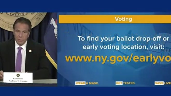 Gov. Andrew Cuomo announced Sept. 8, 2020, that New Yorkers can drop off their absentee ballots in person.