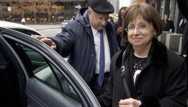 A Dec. 8, 2004, file photo shows Joyce and Stanley Boim outside federal court in Chicago. The Boims' 17-year-old son, David, was shot and killed by terrorists on Israel's West Bank in 1996.