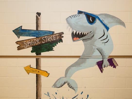 A view of a mural painted by art teacher Robin Daniels
