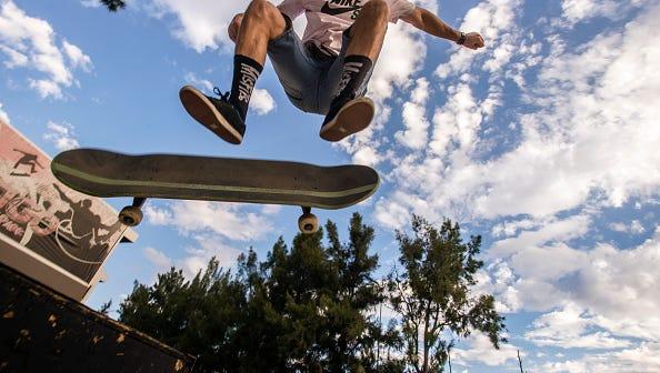 Skateboarders performing their tricks in a Skate Park in Windhoek, Namibia, on May 7, 2016. (Photo by Oleksandr Rupeta/NurPhoto via Getty Images)
