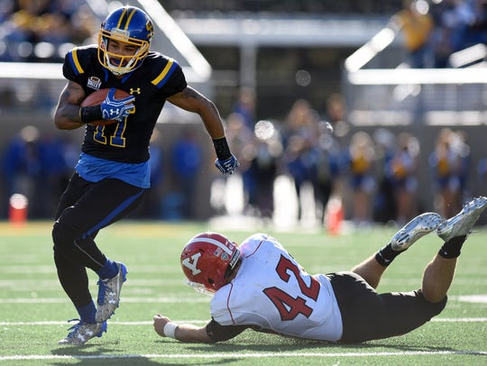 SDSU's  Marquise Lewis escapes from Youngstown's Armand