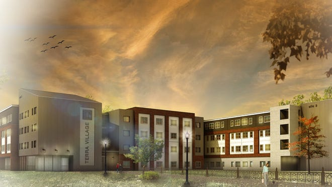 Artist's rendering of Terra State Community College's $14.5 million on-campus housing facility, slated to open this fall.