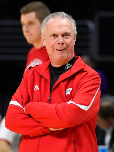 Wisconsin head coach Bo Ryan makes a face after hearing