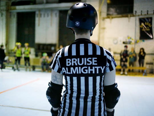 Referee Bruise Almighty waits for teams to take their place during the San Francisco ShEvil Dead scrimmage against the Oakland Outlaws on Thursday, Feb. 9, 2017 in Oakland, Calif. Bay Area Derby (BAD) is home of the Berkeley Resistance, Richmond Wrecking Belles, Oakland Outlaws and San Francisco ShEvil Dead and is a full contact women's flat track roller derby league in Oakland. (Josie Lepe/Bay Area News Group/TNS)