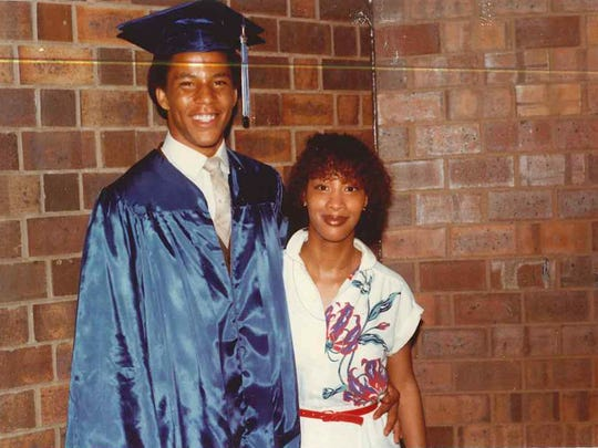 Lawrence Ingram with sister Carlista at his high school