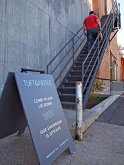 The exterior of the Tuft & Needle showroom in downtown