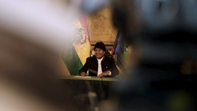 President Evo Morales holds a news conference at the presidential palace in La Paz, Bolivia on Feb. 22.
