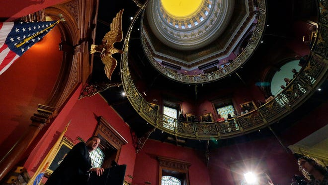 Gov. Chris Christie announces a plan to renovate the State House during an announcement inside the State House rotunda in Trenton on Tuesday, Nov. 29, 2016.