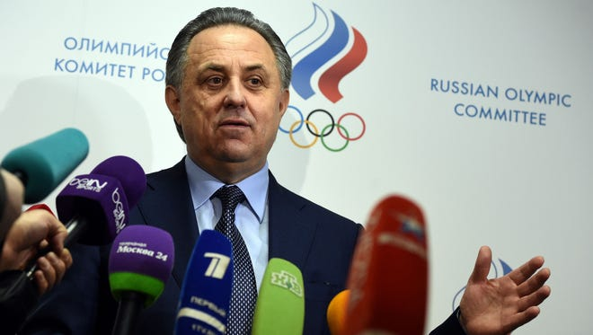 Russian sports minister Vitaly Mutko speaks to the media in January.