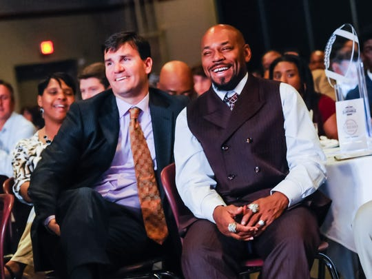 Jake Delhomme and Kevin Faulk at the Acadiana Best of Preps Awards night with guest speaker Drew Brees.