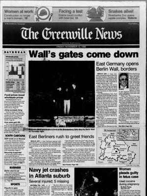 The front page of The Greenville Newson Nov. 10, 1989.