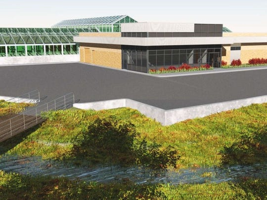 Artist's view of the new greenhouse and headhouse from