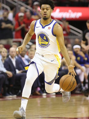 May 16, 2018; Houston, TX, USA; Golden State Warriors guard Quinn Cook (4) dribbles agains the Houston Rockets in game two of the Western conference finals of the 2018 NBA Playoffs at Toyota Center. The Rockets defeated the Warriors 127 to 105. Mandatory Credit: Thomas B. Shea-USA TODAY Sports