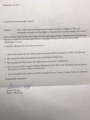 Mayor Kopp's veto letter and reasons for denying eminent