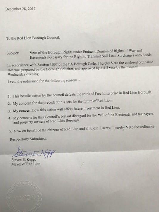Red Lion Mayor Steven Kopp Veto Letter